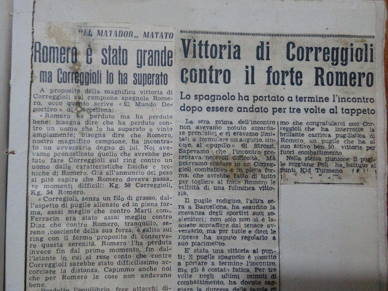 Il titolo che celebra la vittoria di La cintura di campione italiano dei pesi piuma di Enzo Correggioli